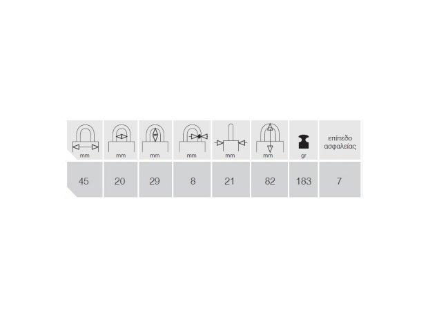 TITALIUM 80TI,45Β. Λουκέτο Τεχνικά Χαρακτηριστικά