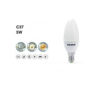 LED C37 E14 5W 3000K Λευκό Θερμό 400LM