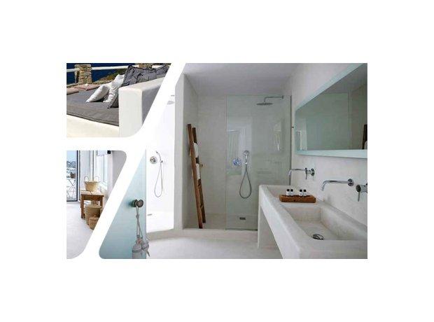 πατητή τσιμεντοκονία διακόσμηση εξωτερικού και εσωτερικού χώρου, χρώμα λευκό