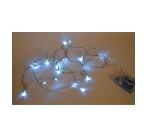 20 Φωτάκια LED Μπαταρίας Λευκό 2,4m Διάφανο καλώδιο