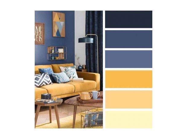 χρωματική παλέτα μπλε κίτρινο