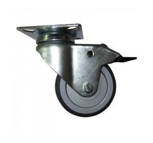 Ρόδα με φρένο Φ75mm, Πέλμα 65x65mm 60kg Γαλβανιζέ