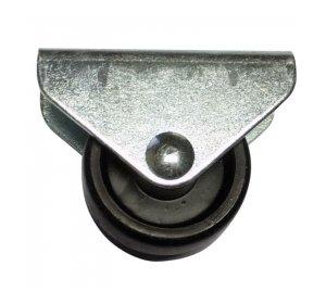 Ρόδα σταθερή Φ30mm, Με πέλμα 46x20mm, 30kg, Γαλβανιζέ, Μαύρη